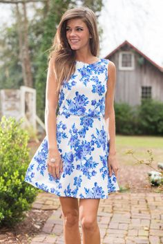 """All Day Soiree Dress, Blue"" $42"