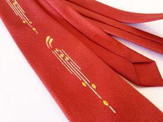 Vintage 1950's Men's Neck Tie / Rust Red / Hand by fourBvintage
