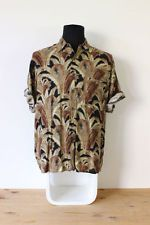 HAWAIIAN SHIRT mens floral tee HIPSTER trendy holiday fun Festive brown fawn MED