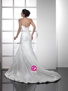 Sirène Sans bretelles Traîne moyenne Robe de mariée en Satin avec Perle Ruché(FR0257944)