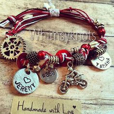 Dirt-bike charm bracelet--great for layering/stacking or alone. on Etsy, $28.00