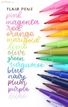 Since the Paper Mate Flair pens have been a favorite way to add a splash of color to your work, whether you're color-coding lists, decorating scrapbooks, or sketching out your latest art project. Best Calligraphy Pens, Caligraphy Pen, Back To School Essentials, Jet Pens, Pencil Writing, School Supplies, Art Supplies, Word Art, Hand Lettering