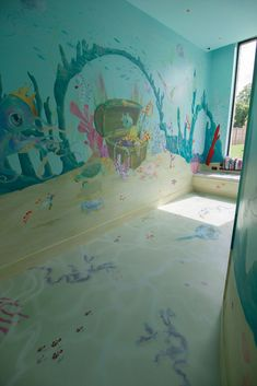 Underwater Playroom, Cheshire. Bespoke full room design including fabrics and crystal hard, digitally printed flooring. Designed and painted by Cheshire mural artists - One Red Shoe Childrens Wall Murals, Hand Painted Walls, Bespoke Design, Red Shoes, Bedroom Wall, Underwater, Playroom, Fabrics, Flooring