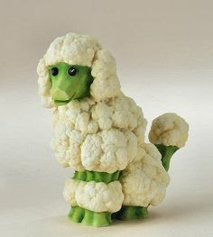 Food art - Cauliflower/Broccoli poodle. (For more quirky, funny, gorgeous, amazing food art: http://blog.uncommongoods.com/2012/thanksgiving-cornucopia-food-art/)