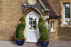 "~ ""The Topiary Cat's Home."" This is how surrealist artist Richard Saunders imagines the home of The Topiary Cat, welcoming visitors at the Visitor's Entrance. Cat Garden, Dream Garden, Garden Art, Garden Design, Richard Saunders, Topiary Garden, Topiaries, Parcs, Beautiful Gardens"