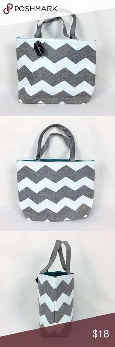 "Blossom Boutique Tote Shopping Beach Bag Chevron Blossom Boutique Grey & White Burlap Tote, Shopping, or Beach Bag with Chevron Pattern and Turqoise Interior New with Tags.  Approximate measurements:  - Bag Height = 12""  - Bag Length = 17""  - Bag Depth = 6""  - Strap drop = 7""  Item summary:  - Brand:  Blossom Boutique  - Item:  Tote Bag  - Item no.:  7BRLP052  - Pattern:  Chevron Print  - Color:  Grey & White  - Size:  17""W x 12""T x 6""D  - Material:  Burlap  - Country of manufacture:  China…"