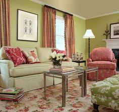 Palm Beach Living Room- Drapes in Plover Geranium. Pillows in Barclay Raspberry and Darjeeling Sorbet. Beach Living Room, Cozy Living Rooms, My Living Room, Living Room Decor, Living Spaces, Calico Corners Fabric, Light Green Walls, Green Painted Walls, Floral Sofa