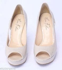 Marc-Fisher-Tumble-Natural-Peep-Toe-Size-7M-Heels-Pumps-Womens-Shoes-W108