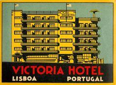 Victoria Hotel, Lisboa Luggage Stickers, Luggage Labels, Vintage Luggage, Vintage Travel Posters, Hotel Ads, Hotel Victoria, Hotels Portugal, Portuguese Culture, Vintage Hotels