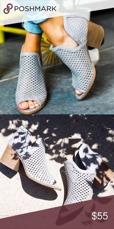 """Gray perforated bootie Heel 2.5"""" faux leather. Zipper closure up the back. Runs half size big Shoes Ankle Boots & Booties"""