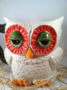 PreOrder Vintage Ceramic Owl Pitcher red orange green by modclay, $59.00