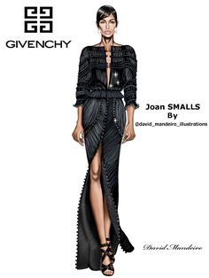 Joan Smalls at Givenchy Runway - Paris Fashion Week - Menswear Spring/Summer 2017. ‪#‎digitaldrawing‬ by David Mandeiro Illustrations. ‪#‎Givenchy‬ ‪#‎JoanSmalls‬