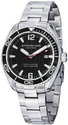 Stuhrling Original Men's 515.02 Aquadiver Regatta Endeavor Swiss Quartz Date Black Dial Stainless Steel Bracelet... - List price: $475.00 Price: $58.75