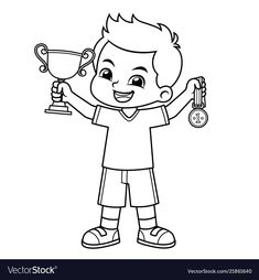 Boy win the contest earn trophy and medal bw vector image on VectorStock Easy Drawings For Kids, Art For Kids, Coloring Pages For Kids, Coloring Sheets, Trophies And Medals, Picture Composition, Notebook Art, Craft Work, Morse Code