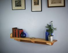 wide wooden shelf with brackets & chunky book end, sustainable natural wood, 114 L x 21 D cm, rustic simplicity custom handmade in Somerset Wooden Shelf Brackets, Wooden Wall Shelves, Wooden Walls, Wooden Bedroom, Furniture Making, Wood Furniture, Furniture Ideas, Entryway Furniture, Bedroom Furniture