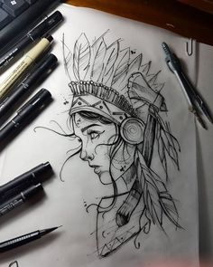 Amazing Pen and Ink Cross Hatching Masters Edition Ideas. Incredible Pen and Ink Cross Hatching Masters Edition Ideas. Pencil Art Drawings, Art Drawings Sketches, Tattoo Sketches, Tattoo Drawings, Crazy Drawings, Native Drawings, Kunst Tattoos, Body Art Tattoos, Girl Tattoos
