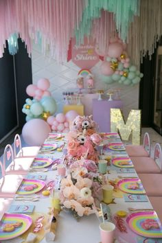 My Little Pony Girl Birthday Party! - My Little Pony Themed Party Table from a Friendship is Magic Birthday Party on Kara's Party Ideas Magic Birthday, My Little Pony Birthday Party, Rainbow Birthday Party, Unicorn Birthday Parties, Girl Birthday, Rainbow Parties, 50th Birthday, Kids Party Tables, Birthday Party Tables