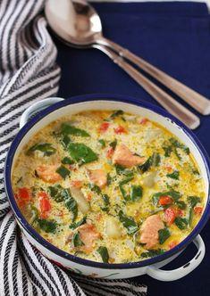 Сырный суп с форелью и шпинатом!