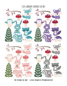 Free Printable Cute Woodland Creature Clip Art  {PDF, JPG and Studio3 files} from myplannerenvy.com
