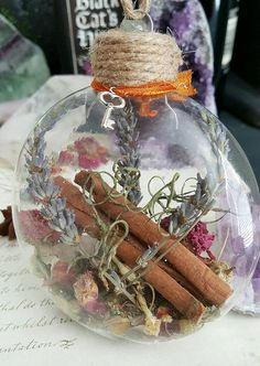 New Home Blessing Ornament - Witch Ball - Herbal Blessing - Yule Decor - House Protection Spell - Tree Ornament - Wiccan - Pagan Pagan Christmas, Christmas Bulbs, Christmas Crafts, Yule Decorations, Christmas Decorations, Winter Solstice Traditions, Pagan Yule, Spiritual Decor, Wiccan Crafts
