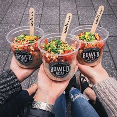 The Three Poke AmigosThanks for stopping by by bowldacai Food To Go, Good Food, Food And Drink, Yummy Food, Bowld Acai, Tumblr Food, Healthy Snacks, Healthy Recipes, Food Packaging Design