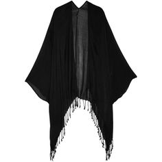 Tart Collections Tama tassel-trimmed jersey coverup featuring polyvore, fashion, clothing, swimwear, cover-ups, black, crochet beach cover-ups, black cover up, black swim cover up, black swimwear and black beach cover up