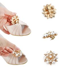 WP1549 Peep Toe High Heel Wedges Shoe Clips Satin Wedding Party Shoes US 5-11 #PumpsClassics #formaleveninggownbridaldresspartybridesmaid