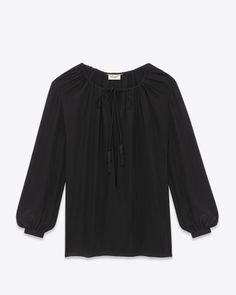 Saint Laurent Signature Paysanne Blouse In Black Silk CRÊPE | ysl.com