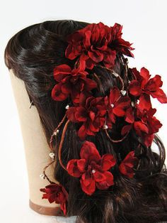Red Floral Hair Comb  Red Bridal Hair Piece  Red by TwoBrightStars