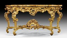"IMPORTANT CONSOLE ""AUX ROSES"", Régence/Louis XV, probably Rome, ca. 1725/45. Gold Furniture, French Furniture, Classic Furniture, Fine Furniture, Antique Furniture, Furniture Decor, Furniture Design, Antique Console Table, Console Tables"