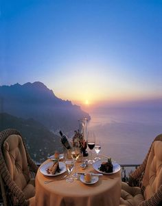 Romantic gourmet dinner at Caruso Hotel in Ravello, Italy. Don't you just love the sunset?