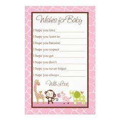 Jungle Jill / Girl Animals ~ For guests to write their best wishes for baby