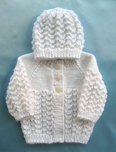 Baby Sweater Hand Knit White Set Preemie Girl Boy Premie Premature Newborn Infant Handmade Knitted
