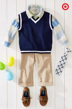 Super cute and so on-trend, this outfit blends classic style and comfort—perfect for any springtime event. Layer this navy sweater vest over the plaid button-down shirt and khaki pants, then top off this preppy look with a plaid tie and boat shoes. Time for that photo op!