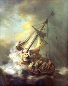 Rembrandt: Christ in Storm Lake of Galilea  - Giclee Art Reproduction on Stretched Canvas