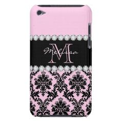 Baby Pink Cream black floral Damask diamonds Case-Mate iPod Touch Case - lace gifts style diy unique special ideas