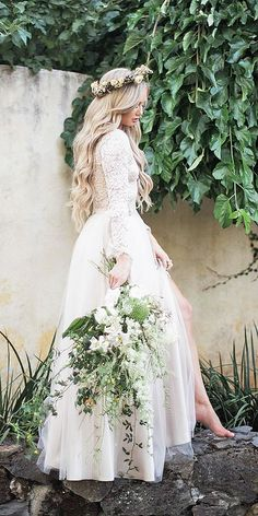 long sleeves lace top tulle skirt romantic bridal gowns bliss tulle