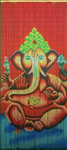 Hand Painted Beaded Bamboo Curtain - Ganesha