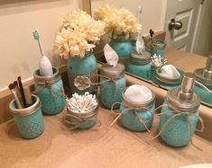 Rustic Housewives: 7 piece Painted Decorated Mason Jar Rustic Shabby Chic Distressed Farmhouse Twine Burlap Bathroom, All things rustic, Diy Abschnitt, Mason Jar Projects, Mason Jar Crafts, Mason Jar Diy, Bottle Crafts, Diy Crafts With Mason Jars, Pickle Jar Crafts, Mason Jar Cups, Mason Jar Storage, Hanging Mason Jars