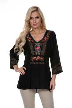 4966b088dc Two Funky Cousins · Threads · Krista Lee V-neck Tunic with Multi-Colored Floral  Embroidery Fashion Outfits