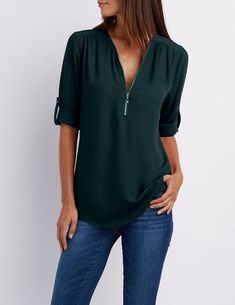 13a0ad8426a Women s V Neck Zipper Solid Colour Long SLeeve basic blouse Ladies rricdress