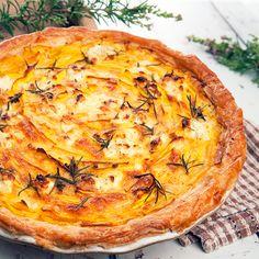 Vegetarian Pumpkin Feta Tart Easy Pie Recipes, Fodmap Recipes, Milk Recipes, Tart Recipes, Delicious Vegan Recipes, Pumpkin Recipes, Veggie Recipes, Cooking Recipes, Vegetarian Recipes