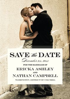 Save the Date Card with photo - Traditional Wedding
