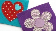 Colourful fabric shapes sewn onto felt | Fabric and felt brooches | Tesco Living
