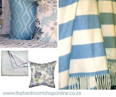 Tranquil blues and greys. www.thebedroomshoponline.co.za #TheBedroomShopOnline #Blue #Grey #Tranquil Beautiful Bedrooms, Blue Grey, Blues, Blanket, Shopping, Ideas, Home, Ad Home, Blankets