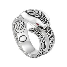 John Hardy Men's Classic Chain Silver Cobra Ring with Ruby - Fink's Jewelers
