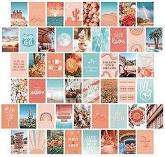 Peach Aesthetic Wall Collage Kit, Room Decor for Teen Girls, Peachy Teal Wall Art Print, Dorm Photo Collection, Boho Posters for Room Aesthetic… - 50 set Peach, 4x6 inch