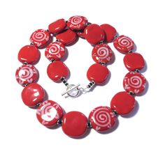 Ceramic+Jewelry+Kazuri+Bead+Necklace+Red+and+by+lizbriggsdesigns
