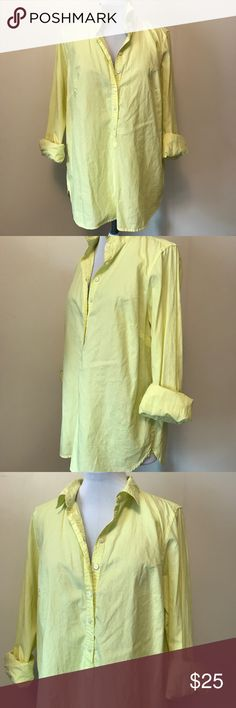 "J. Crew Long Sleeve Pullover Pullover. Half way buttons down. Long Sleeve. S51817M  Condition - Great shape, no flaws, 9/10   Color - very bright neon yellow/green  Measurements -  Underarm to underarm - 20"" Shoulder to hem - 25"" Underarm to end of Sleeve - 19""  Material - see photo tag J. Crew Tops Tees - Long Sleeve"