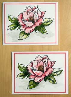 handmade cards from Elina's Arts And Crafts, With Love ... watercolor paper .... large rose ... luv how each one is beautiful but different because of the coloring ... a quick way to make gorgeous cards ... Stampendous rose stamp ...